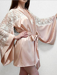 cheap -Women's Plus Size Robes Gown Bathrobes Home Party Daily Spa Lace Pure Color Polyester Satin Simple Casual Soft Spring Summer Long Sleeve Belt Included