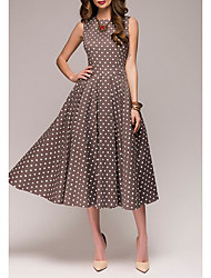 cheap -Women's Plus Size A Line Dress - Sleeveless Polka Dot Summer 1950s Elegant Party / Cocktail 2020 Red Green Brown S M L XL XXL XXXL XXXXL