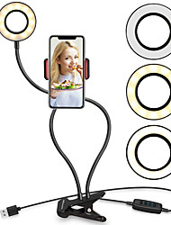 cheap -LED Self-Timer Ring Light TikTok Light Youtube Video Broadcast Live Light with Mobile Phone Clip Bracket Lazy Bracket Desktop Clip Eye Dimmable USB