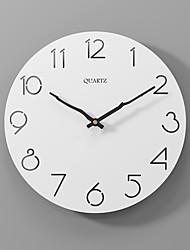 cheap -Modern minimalist silent fashion wall clock wooden clock white 30x30cm