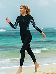cheap -SBART Women's Rash Guard Dive Skin Suit Patchwork Padded Sun Shirt Bodysuit Swimwear Black UV Sun Protection Breathable Quick Dry Long Sleeve - Swimming Surfing Snorkeling Autumn / Fall Spring