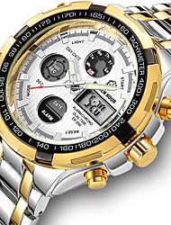 Недорогие -Муж. Нержавеющая сталь Кварцевый Формальный Современный Черный / Серебристый металл / Золотистый 30 m Защита от влаги ЖК экран Повседневные часы Аналого-цифровые Классика Мода -
