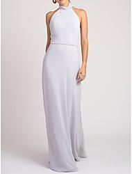 cheap -Sheath / Column Halter Neck Floor Length Chiffon Bridesmaid Dress with Bow(s)