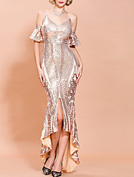 cheap -Mermaid / Trumpet Spaghetti Strap Asymmetrical Polyester Glittering / Sexy Wedding Guest / Formal Evening Dress with Sequin / Split 2020