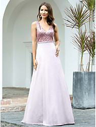 cheap -A-Line Sparkle White Wedding Guest Formal Evening Dress V Neck Sleeveless Floor Length Tulle with Sequin 2021