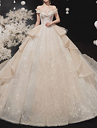 cheap -Ball Gown Wedding Dresses Off Shoulder Watteau Train Lace Tulle Short Sleeve Formal Wedding Dress in Color with Cascading Ruffles 2021