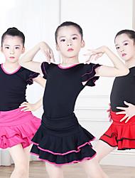 cheap -Kids' Dancewear Skirts Cascading Ruffles Girls' Training Performance Cap Sleeve Nylon