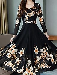 cheap -Women's Swing Dress Maxi long Dress - Long Sleeve Geometric Elegant Black Red Green M L XL XXL XXXL XXXXL