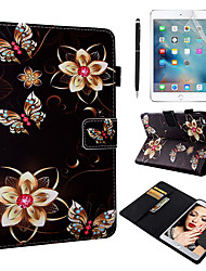 Недорогие -кейс&усилитель; Стилус&усилитель; 1 шт. Экран защиты для Apple Ipad Mini 12345 с подставкой / флип / ультратонкий задняя крышка цветы искусственная кожа