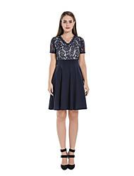 cheap -Women's A Line Dress - Short Sleeves Solid Color V Neck Navy Blue S M L XL XXL
