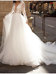 cheap -A-Line Wedding Dresses Plunging Neck Court Train Lace Tulle Long Sleeve Country Plus Size with Lace Embroidery 2020