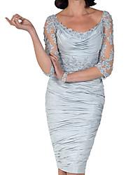 cheap -Sheath / Column Mother of the Bride Dress Elegant Bateau Neck Knee Length Lace Taffeta 3/4 Length Sleeve with Beading Ruffles Draping 2021