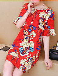 cheap -Women's Red Dress Sheath Print L XL