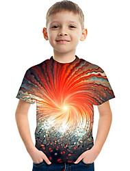 cheap -Kids Boys' T shirt Tee Short Sleeve Color Block 3D Print Red Children Tops Active Streetwear Children's Day