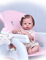 Недорогие -NPKCOLLECTION 22 дюймовый Куклы реборн Девочки Reborn Baby Doll Подарок Ручная работа Искусственная имплантация Коричневые глаза с одеждой и аксессуарами / Силикон