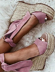 cheap -Women's Sandals Wedge Heel Round Toe Nylon Summer Pink / Black / Beige