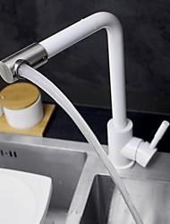 Недорогие -360 поворотный кухонный кран с одной ручкой без свинца 304 нержавеющая сталь матовый никель матовый черный белый смеситель для раковины t15