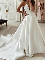 cheap -A-Line Wedding Dresses Strapless Sweep / Brush Train Stretch Satin Sleeveless Country Plus Size with Side-Draped 2020