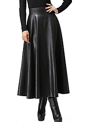 cheap -Women's Basic Swing Skirts - Solid Colored Black S M L