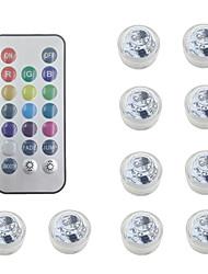 Недорогие -Водонепроницаемые батарейки RGB погружной светодиодный ночник подводный ночник чайные светильники для вазы чаши аквариум и свадьба декор (содержат пульт дистанционного управления / содержат батарею)