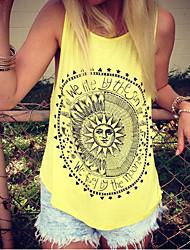 cheap -Women's Geometric Print T-shirt - Cotton Daily Black / Yellow