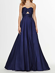 cheap -A-Line Sweetheart Neckline Sweep / Brush Train Satin Elegant / Blue Prom / Formal Evening Dress with Sleek 2020