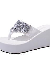 cheap -Women's Slippers & Flip-Flops 2020 Wedge Heel Open Toe Rhinestone Faux Leather Casual Summer Fuchsia / Pink / White
