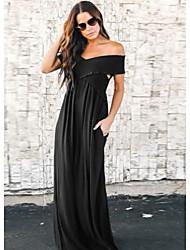 cheap -Women's Brown Black Dress A Line Solid Color S M