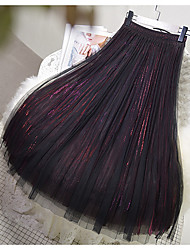 cheap -Women's Swing Skirts - Solid Colored Wine Blushing Pink Green One-Size