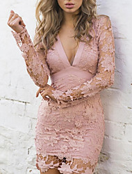 Недорогие -Жен. Облегающий силуэт Платье - Длинный рукав Сплошной цвет V-образный вырез Черный Розовый S M L XL
