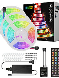 cheap -15M(3x5M) LED Light Strips RGB Tiktok Lights Music Sync Timed Remote Waterproof Flexible 5050 SMD 450 LEDs IR 40 Key Controller with Installation Package 12V 6A Adapter Kit