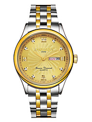 cheap -KINGNUOS Men's Steel Band Watches Quartz Stylish Casual Water Resistant / Waterproof Analog Black+Gloden White+Gold Gold / Stainless Steel / Stainless Steel / Calendar / date / day / Large Dial