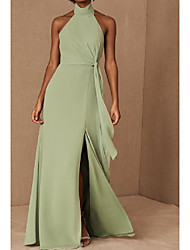 cheap -A-Line Halter Neck Floor Length Chiffon / Shantung Bridesmaid Dress with Ruching / Open Back