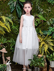 cheap -A-Line Ankle Length Wedding Flower Girl Dresses - Tulle Sleeveless Jewel Neck with Bow(s) / Tier / Solid