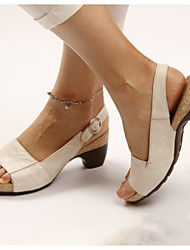 cheap -Women's Sandals Platform Sandals Summer Platform Round Toe Daily PU Black / Yellow / Khaki