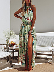 cheap -Women's Asymmetrical Sheath Dress - Sleeveless Print Backless Pleated Print Halter Neck Boho Going out Beach White Black Green S M L XL XXL XXXL / Cotton