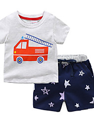 cheap -2 Piece Kids Toddler Boys' Active Basic Galaxy Solid Colored Sporty Basic Sleepwear Gray