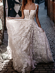cheap -A-Line Wedding Dresses Spaghetti Strap Sweep / Brush Train Lace Sequined Polyester Sleeveless Country Plus Size with Embroidery Appliques 2020