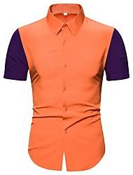 cheap -Men's Color Block Patchwork Shirt Tropical Daily Orange / Short Sleeve