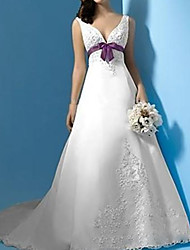 cheap -A-Line Wedding Dresses Plunging Neck Sweep / Brush Train Polyester Sleeveless Country Plus Size with Sashes / Ribbons Lace Insert 2020