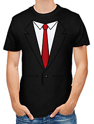 cheap -Men's Going out Work Business / Street chic T-shirt - Color Block / Abstract / Graphic Print Black