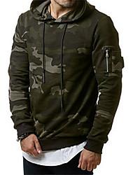 cheap -Men's Hoodie Camo / Camouflage Hooded Basic Green Gray US32 / UK32 / EU40 US34 / UK34 / EU42 US36 / UK36 / EU44 US38 / UK38 / EU46 US40 / UK40 / EU48