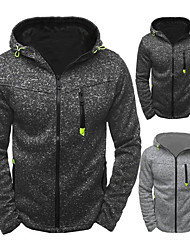 cheap -Men's Full Zip Track Jacket Running Jacket Winter Hooded Running Active Training Fitness Thermal / Warm Breathable Soft Sportswear Jacket Top Long Sleeve Activewear Micro-elastic