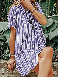 cheap -Women's Wine Purple Dress Shirt Striped S M