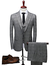 cheap -Tuxedos Slim Fit Notch Single Breasted Two-buttons Polyester Plaid / Check / British / Fashion