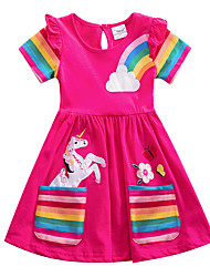cheap -Kids Little Girls' Dress Unicorn Rainbow Cartoon Striped T Shirt Dress Tee Dress Causal Embroidered Animal Pattern Blue Yellow Blushing Pink Knee-length Short Sleeve Flower Cute Dresses Children's Day