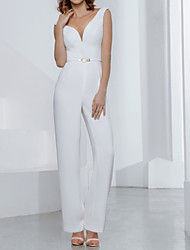 cheap -Jumpsuits Wedding Dresses V Neck Floor Length Stretch Satin Jersey Sleeveless Country Plus Size Backless with Sashes / Ribbons Appliques 2021