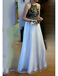cheap -A-Line Color Block Engagement Formal Evening Dress Halter Neck Sleeveless Floor Length Chiffon Lace with Beading Sequin 2021