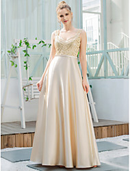 cheap -A-Line V Neck Floor Length Satin / Sequined Bridesmaid Dress with Sequin