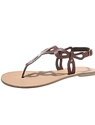 cheap -Women's Sandals Flat Sandals 2020 Leather Sandals Spring &  Fall / Spring & Summer Flat Heel Open Toe Casual Minimalism Daily Outdoor PU Dark Brown / White / Black